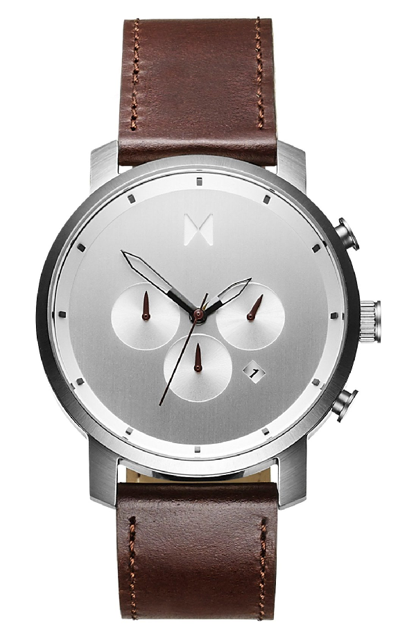 Mvmt Chronograph Leather Strap Watch, 45mm In Silver/ Brown