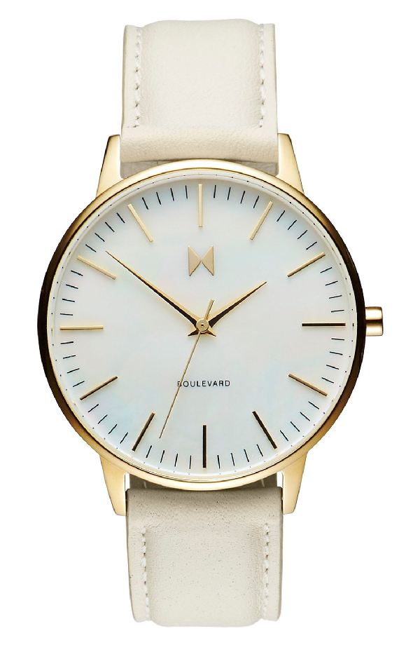 Mvmt Boulevard Leather Strap Watch, 38mm In Cream/ Mother Of Pearl/ Gold