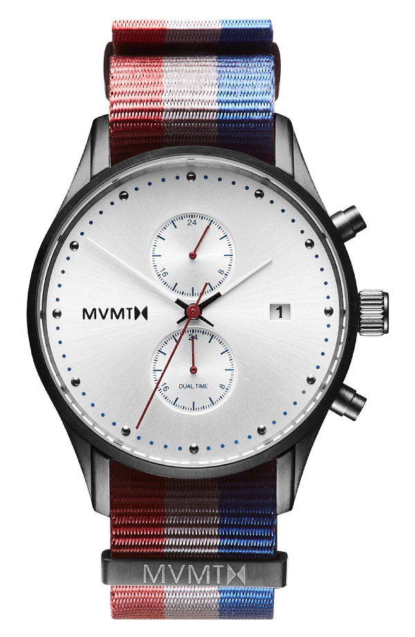 Mvmt Voyager Chronograph Canvas Strap Watch, 42mm In Silver/ Grey