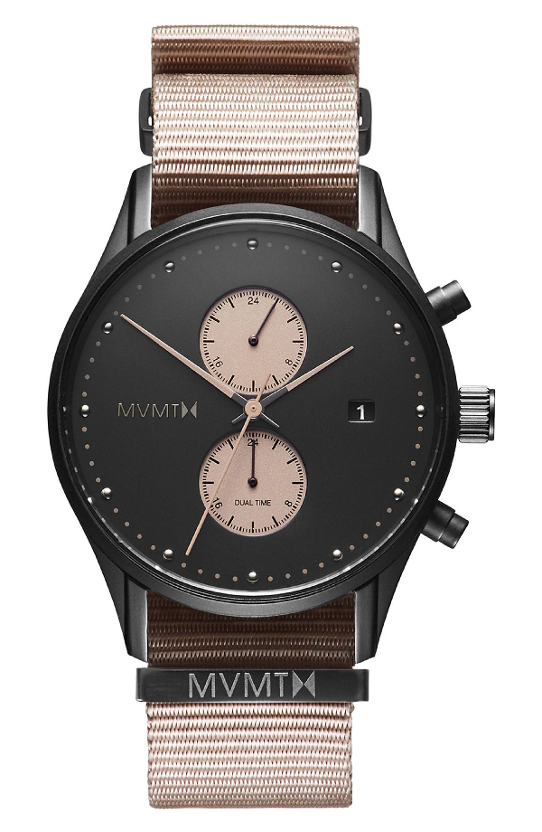 Mvmt Voyager Chronograph Canvas Strap Watch, 42mm In Black/ Taupe