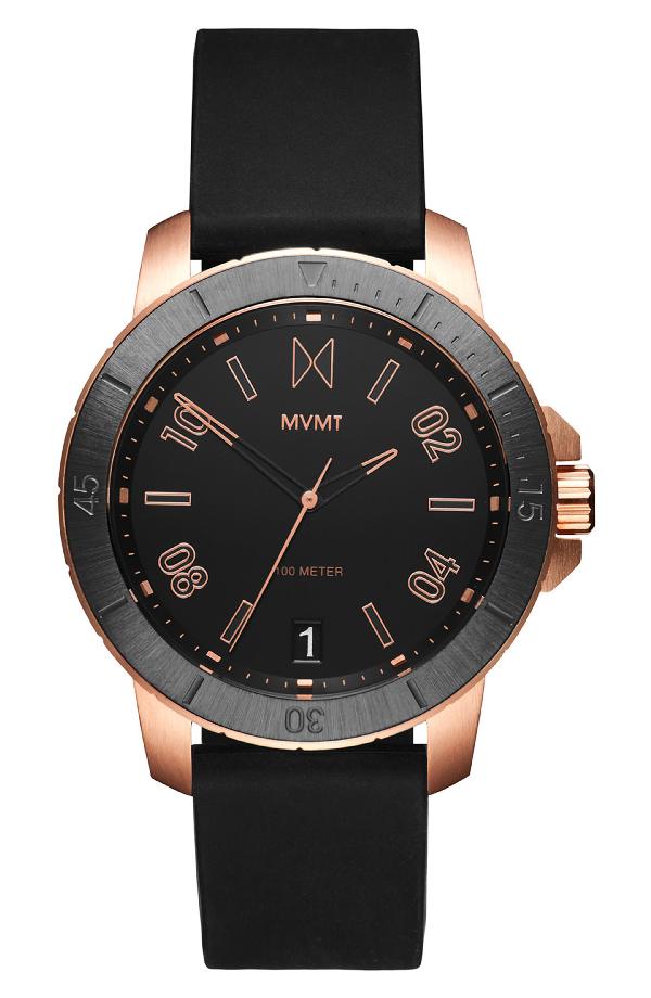 Mvmt Modern Sport Silicone Strap Watch, 42mm In Black/ Black
