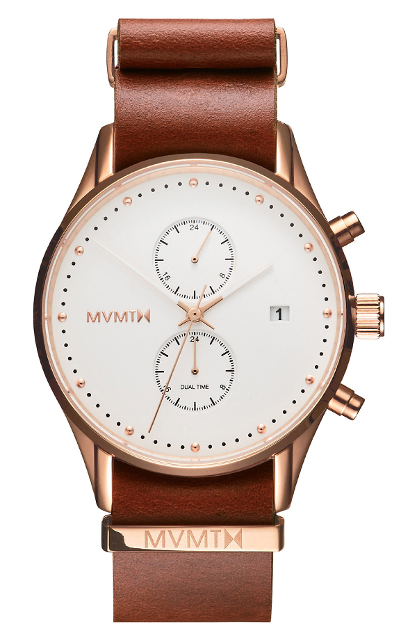 Mvmt Voyager Chronograph Leather Strap Watch, 42mm In White/ Brown