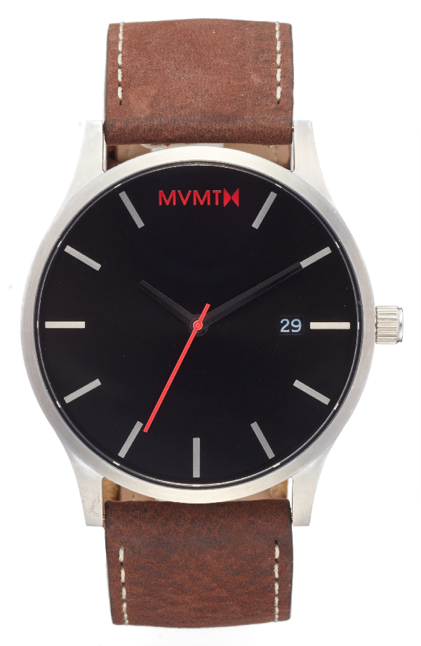 Mvmt The Classic Leather Strap Watch, 45mm (nordstrom Exclusive) In Black/ Brown