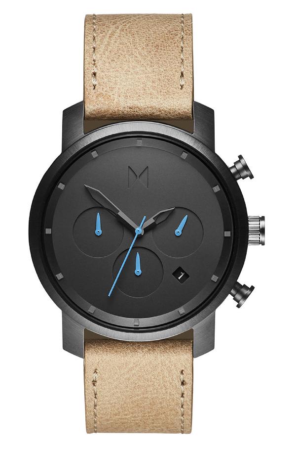 Mvmt Chrono Chronograph Leather Strap Watch, 40mm In Sandstone/ Gunmetal