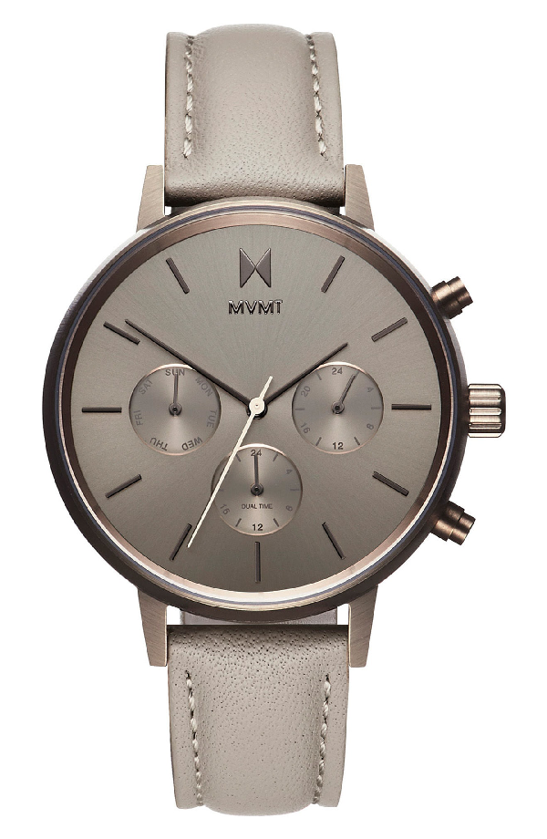 Mvmt Nova Chronograph Leather Strap Watch, 38mm In Taupe