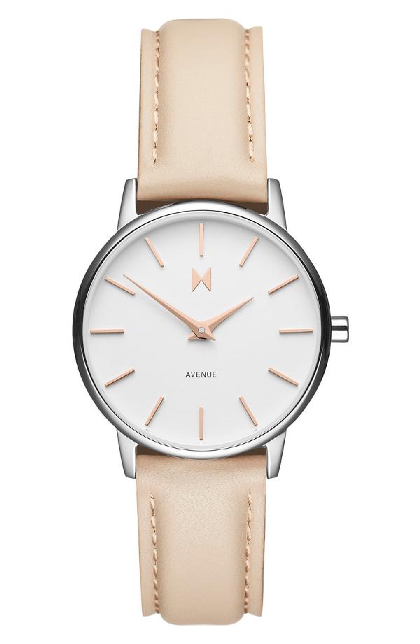 Mvmt Belamar Leather Strap Watch, 28mm In Creme/ White/ Silver