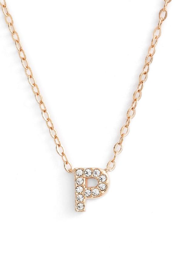 Nadri Initial Pendant Necklace In P Rose Gold