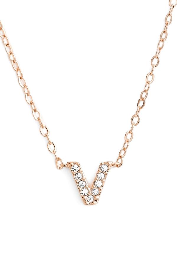 Nadri Initial Pendant Necklace In V Rose Gold