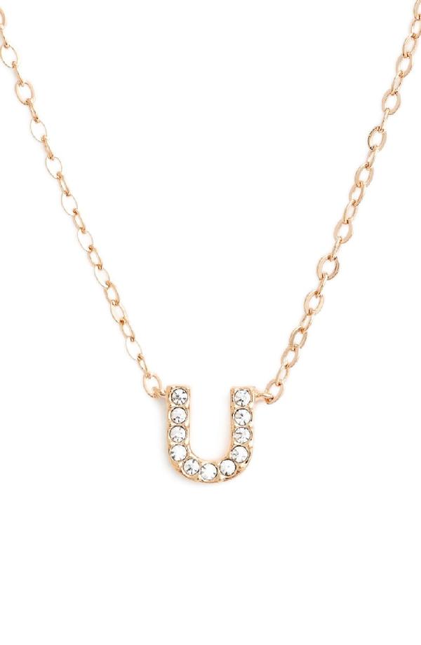 Nadri Initial Pendant Necklace In U Rose Gold