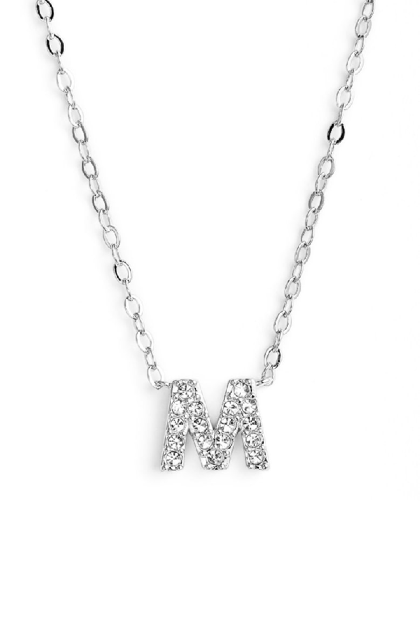 Nadri Initial Pendant Necklace In M Silver