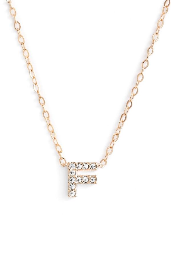 Nadri Initial Pendant Necklace In F Rose Gold