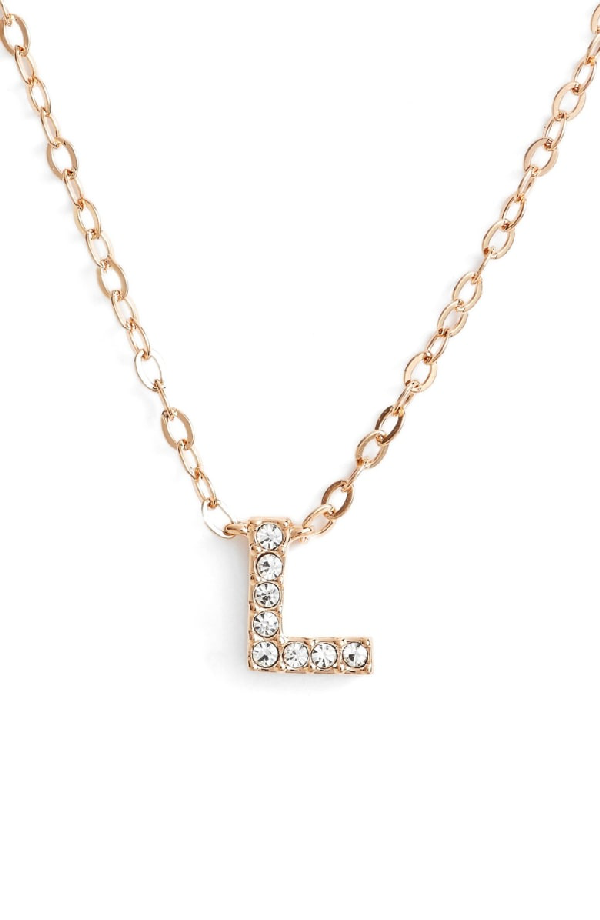 Nadri Initial Pendant Necklace In L Rose Gold