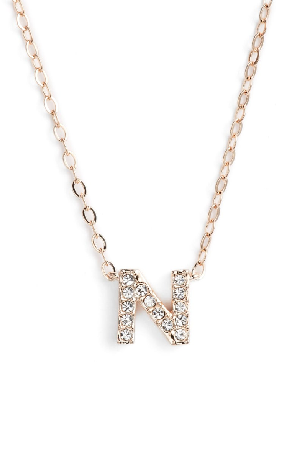 Nadri Initial Pendant Necklace In N Rose Gold
