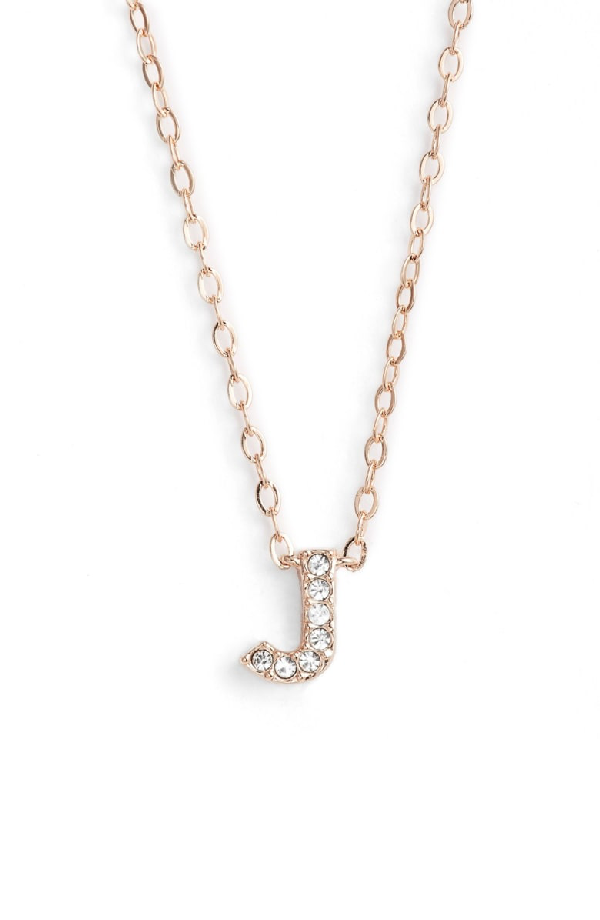 Nadri Initial Pendant Necklace In J Rose Gold
