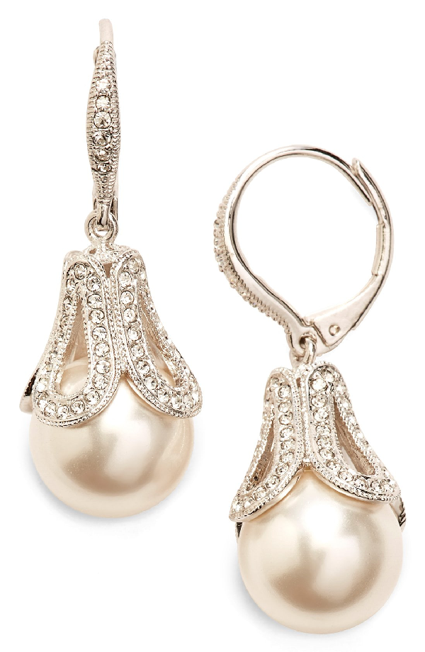 Nadri Imitation Pearl Drop Earrings In Ivory