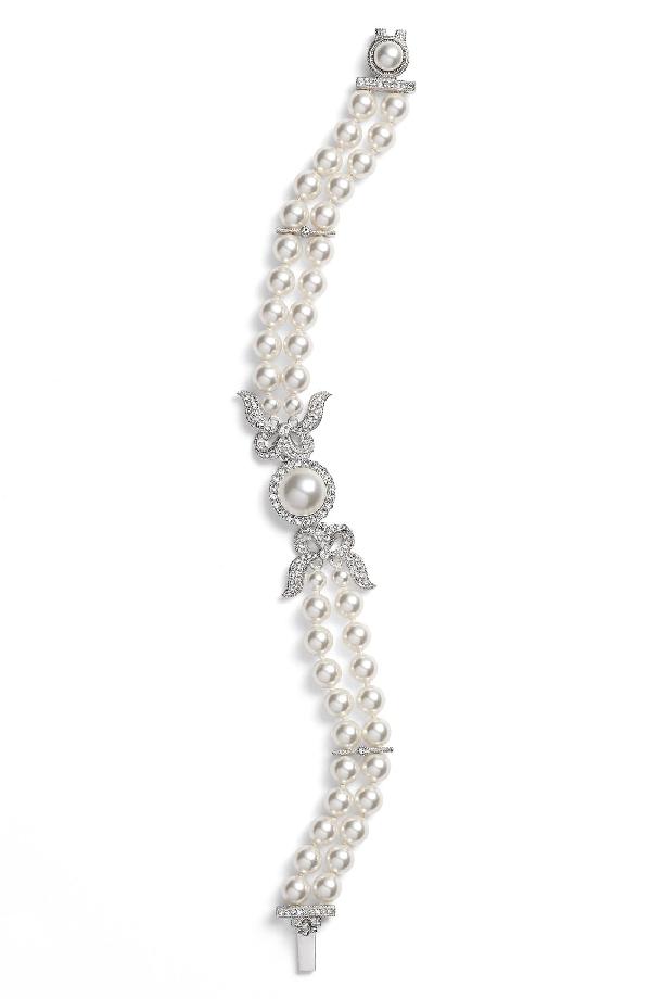 Nadri Two Row Imitation Pearl & Crystal Bracelet In Ivory