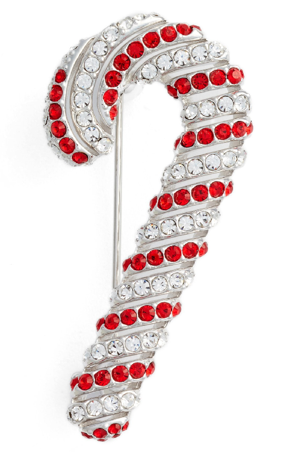 Nadri Jolly Candy Cane Pin In Red/ Silver