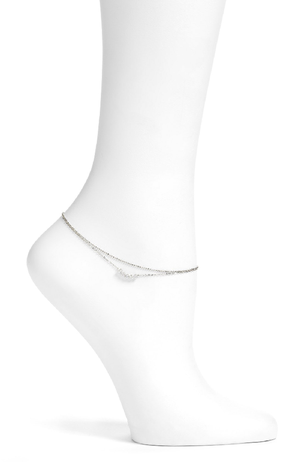 Nadri Salome Cubic Zirconia Double Chain Anklet In Silver