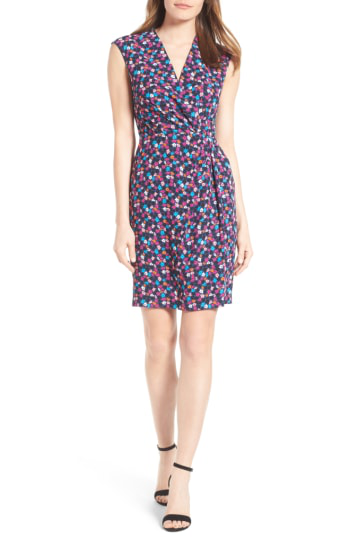 Anne Klein Adagio Print Faux Wrap Dress In Cadet/ Orchid Combo