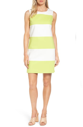 Anne Klein Colorblock Shift Dress In White/ Sprout