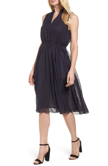 Anne Klein Print A-line Dress In African Violet Combo
