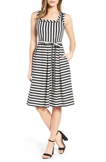 Anne Klein Stripe Fit & Flare Dress In Black Multi/ Black