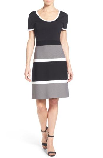 Anne Klein Colorblock A-line Knit Dress In Grey Combo