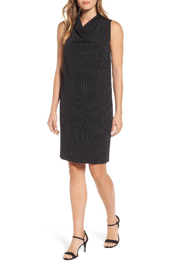 Anne Klein Pinstripe Shift Dress In Black/ White