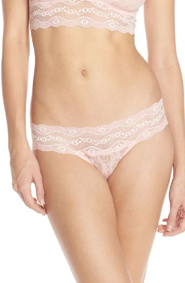 B.tempt'd By Wacoal 'lace Kiss' Thong In Crystal Rose