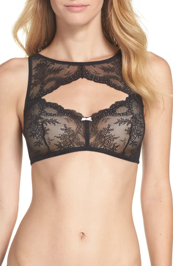 Betsey Johnson Lacy Glam Lace Underwire Bra In Raven Black