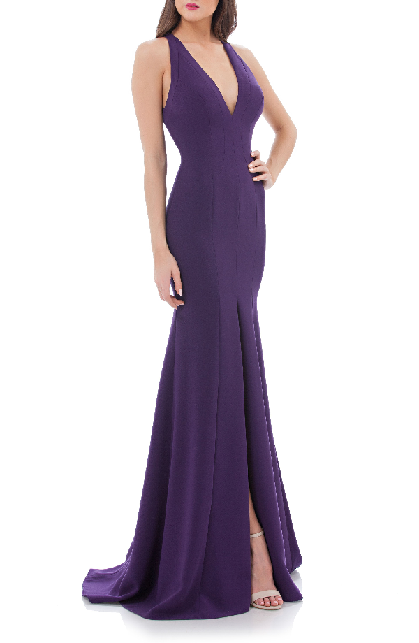 Carmen Marc Valvo Infusion V-neck Halter Style Gown In Plum
