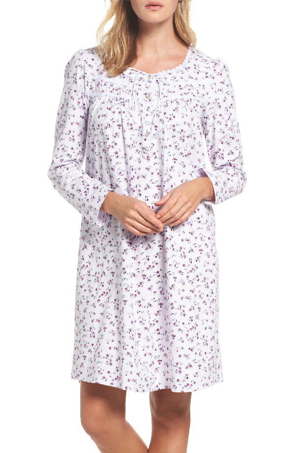 Eileen West Short Nightgown In Lilac Ditsy