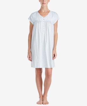 Eileen West Cotton Button-front Nightgown In Blue Geo