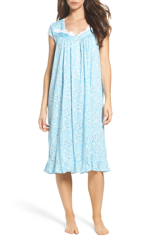 Eileen West Waltz Lace-trim Nightgown In Light Seaglass
