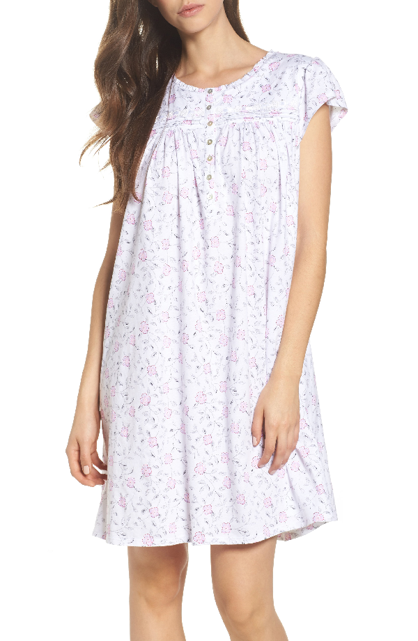 Eileen West Cotton Jersey Nightgown In White Floral Scroll