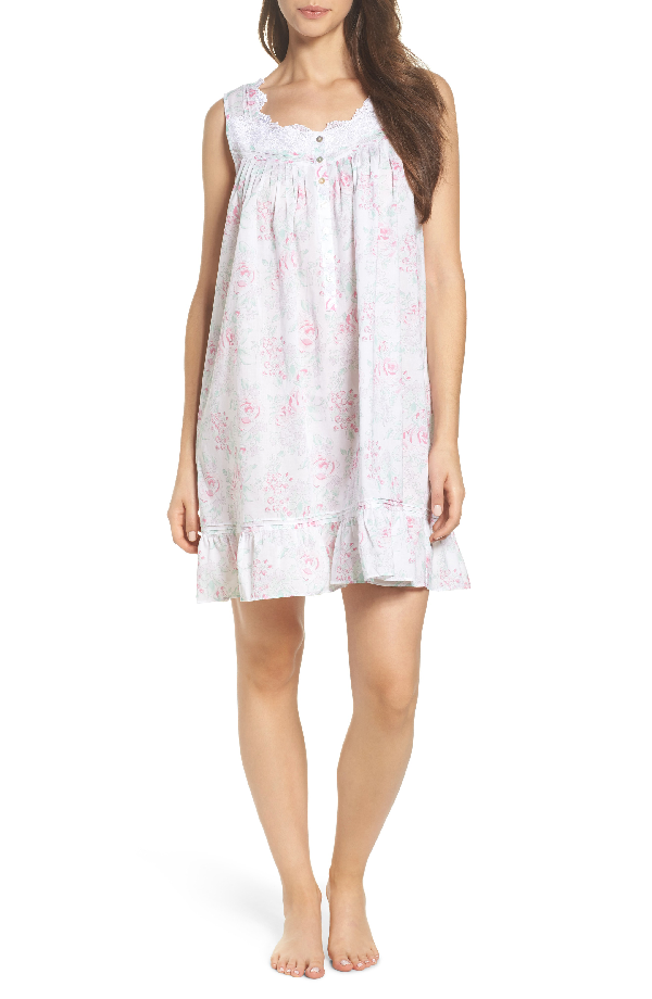 Eileen West Cotton Chemise In White Watercolor Floral