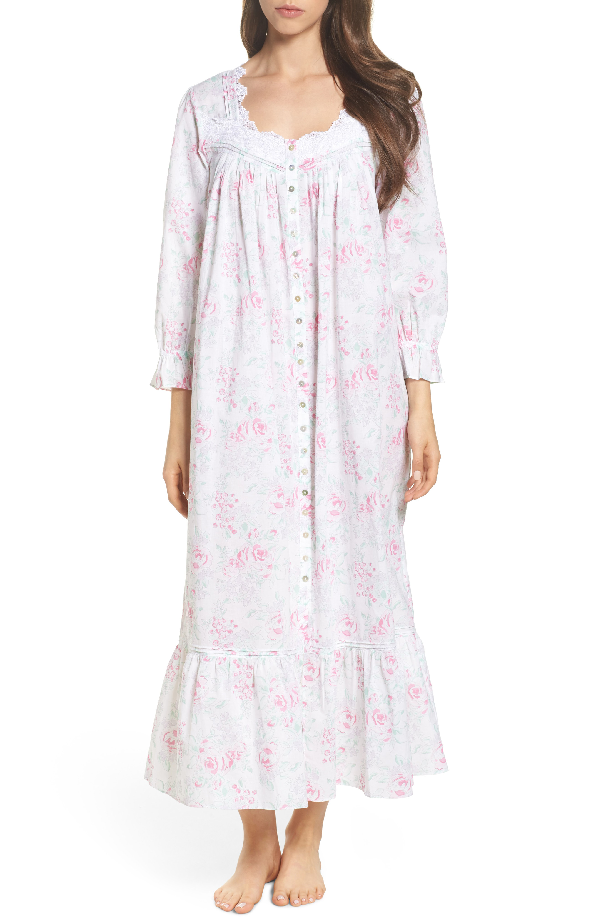 Eileen West Button Front Cotton Nightgown In White Watercolor Floral