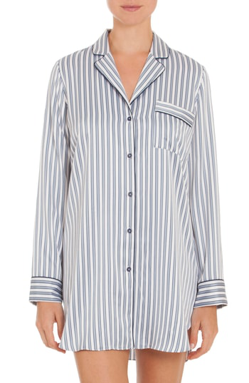 In Bloom By Jonquil Nightshirt In Ivory/ Blue Pin Stripe