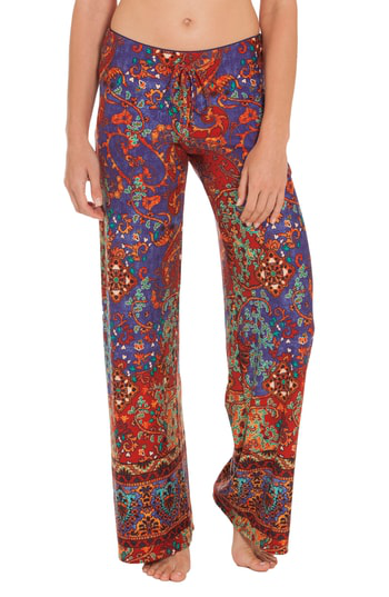 In Bloom By Jonquil Mosaic Print Pants In Pomegranate/ Royal Blue
