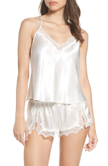 In Bloom By Jonquil Satin Short Pajamas In Off-white