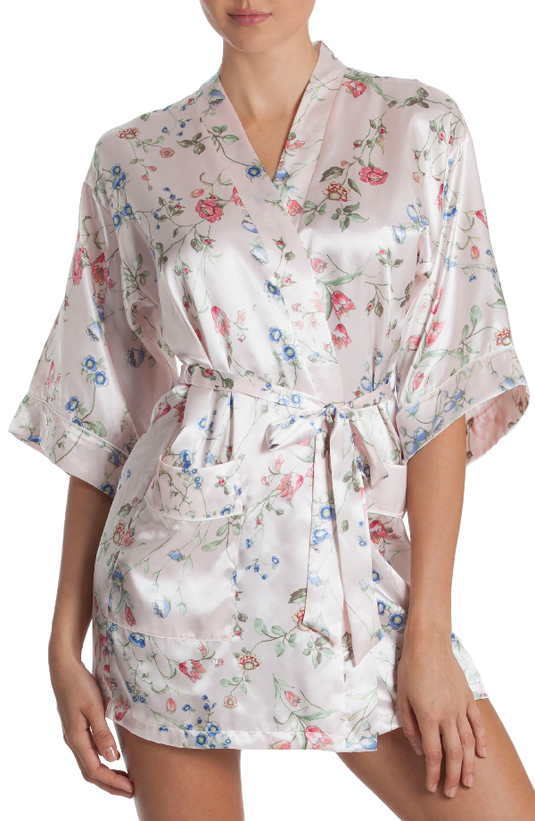 In Bloom By Jonquil Floral Print Satin Robe In Botanical Breeze-pink Ground