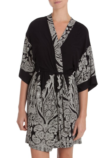 In Bloom By Jonquil Robe In Black/ Ivory Print