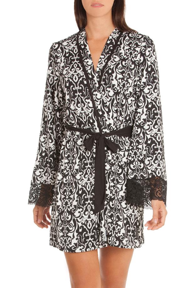 In Bloom By Jonquil Konya Short Robe In Black/ Ivory