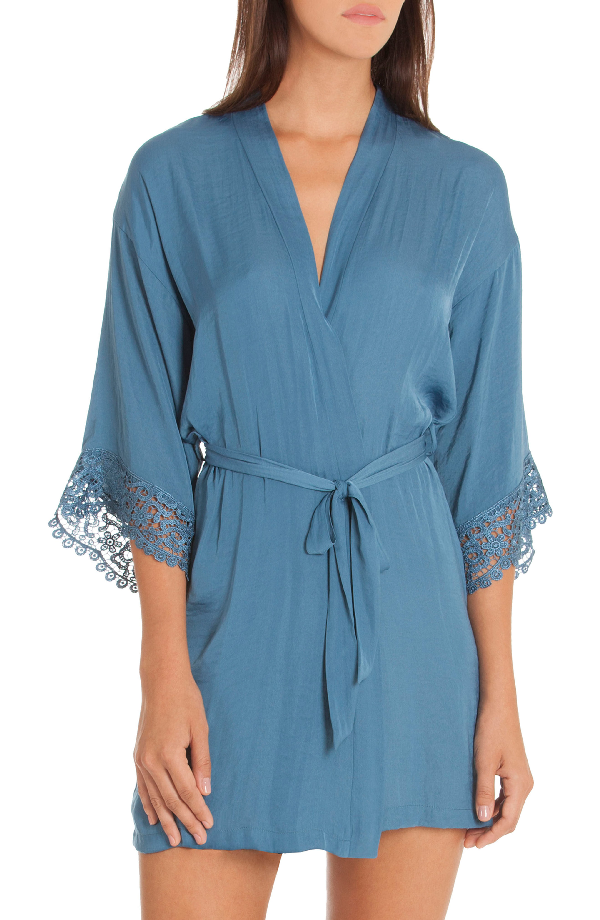 In Bloom By Jonquil Byzantine Washed Satin Wrap In Blue Haze
