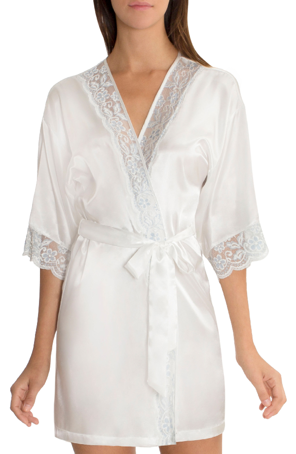 In Bloom By Jonquil Satin Robe In Ivory