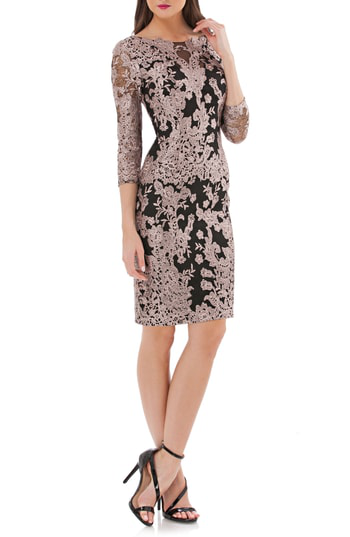 Js Collections Embroidered Lace Cocktail Dress In Stone/ Black