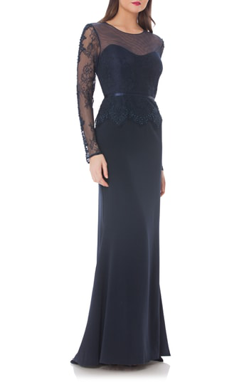 Js Collections Embellished Crepe Mermaid Gown In Navy