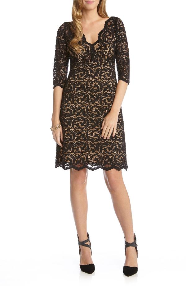 Karen Kane Scalloped Lace V-neck Dress In Black/ Nude