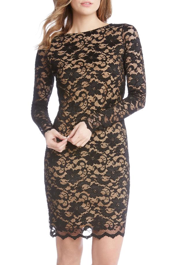 Karen Kane Lace Illusion Sheath Dress In Black/ Nude