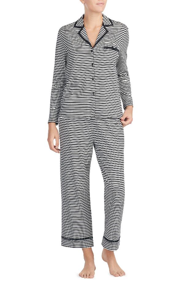 Kate Spade Stripe Crop Jersey Pajamas In Black/ White Spring Stripe